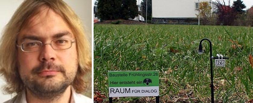 Foto bestehend aus Zwei Bildern: Franz Knoppe und Rasen auf dem ehemaligen Wohnort des NSU-Trios in Zwickau