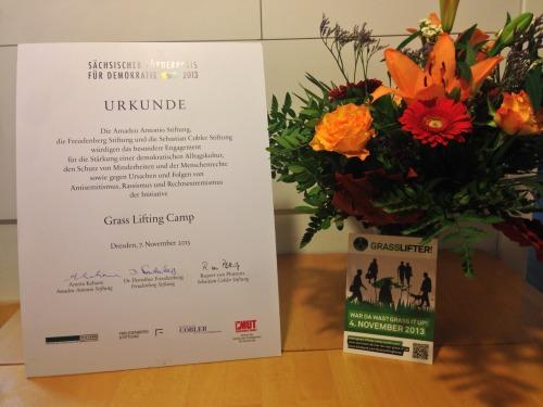 Urkunde für das Grass Lifting Camp vom Sächsischen Förderpreis für Demokratie 2013